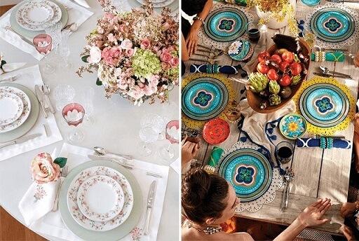 Exemplos de maneiras diferentes de como montar mesa de jantar