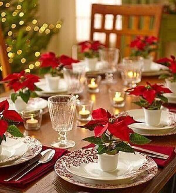 Flor de natal arranjo para mesa