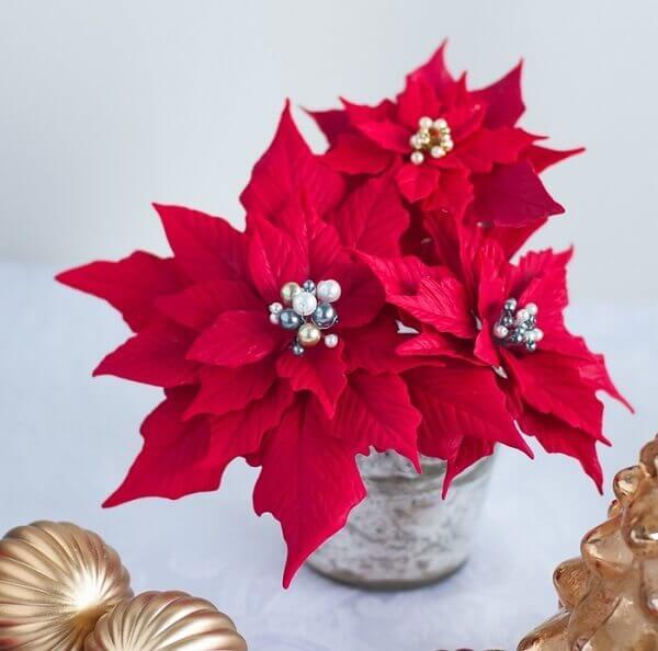 Flor de natal em biscuit