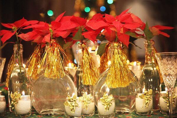 Flor de natal utilizada na decoração de centro de mesa