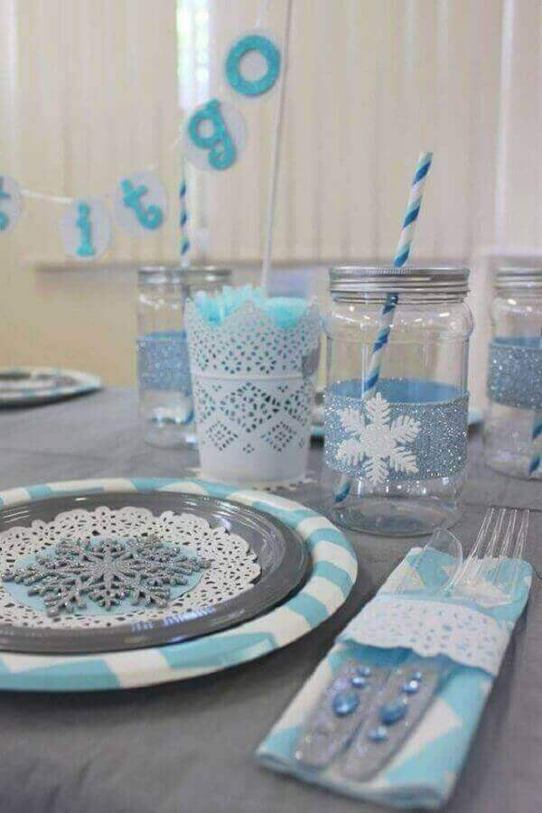 Ideias criativas decora a festinha frozen