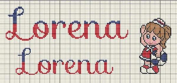 Letras em ponto cruz com desenho de menina