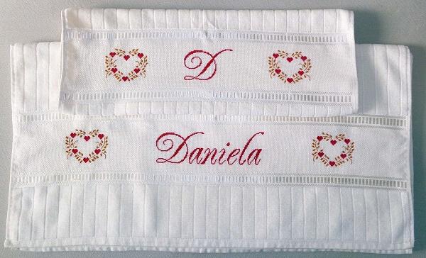 Letras em ponto cruz toalha de banho e rosto