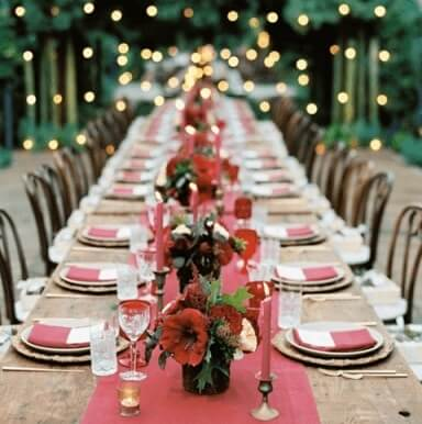 Large wooden outdoor table for Christmas dinner Photo from Public Affairs