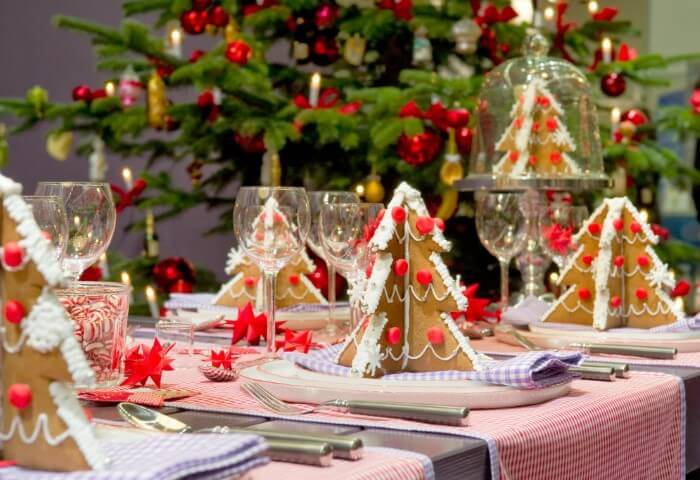Christmas supper table with Christmas trees made of biscuit Photo by Decoholic