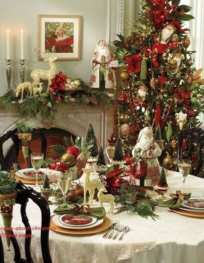 Christmas dinner table with mini Christmas trees Photo by Pinterest
