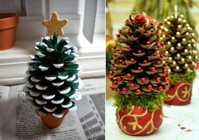Mini árvore de natal artesanal feita com pinhas Foto de Emerson Smith
