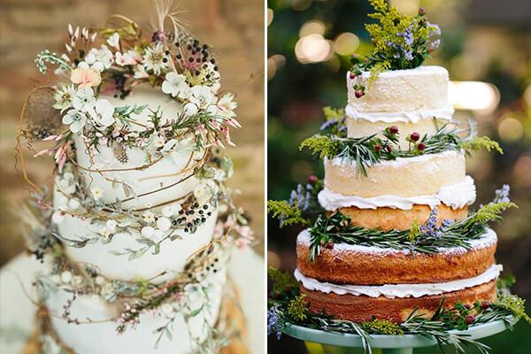 Opções de bolo jardim secreto com flores e folhas de verdade Foto de Constance Zahn