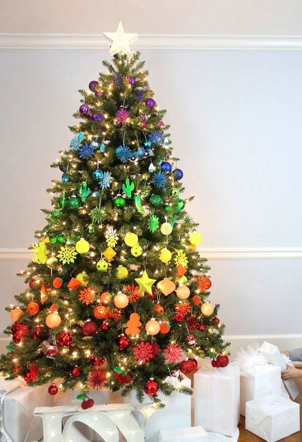 Christmas tree with fun and colourful decoration