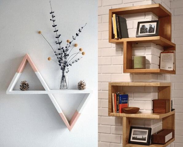 Prateleira de madeira triangular e de quina