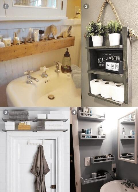 Prateleira para banheiro em vários lugares