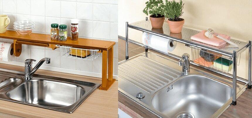 Prateleira para cozinha em cima da pia