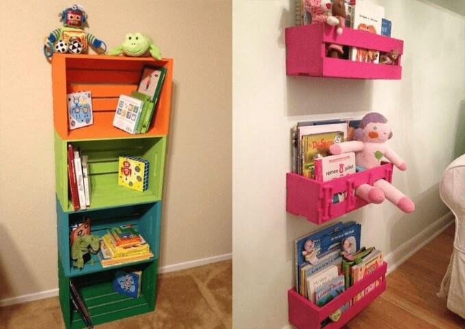 Prateleira para quarto infantil com caixotes
