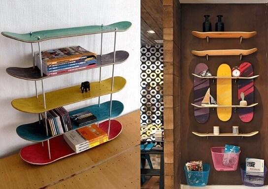 Prateleira para quarto shape de skate no chão e na parede