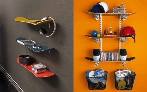 Prateleira para quarto shape de skate