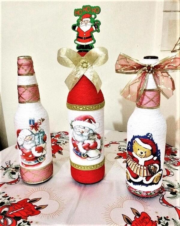 Reutilize garrafas de vidro com o artesanato de natal
