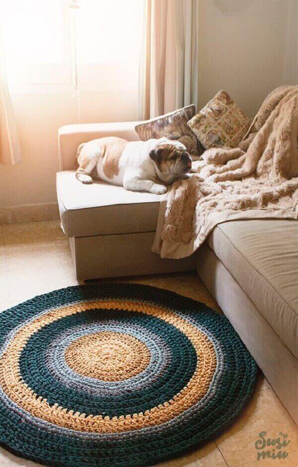 Tapete de crochê redondo para decoração de sala