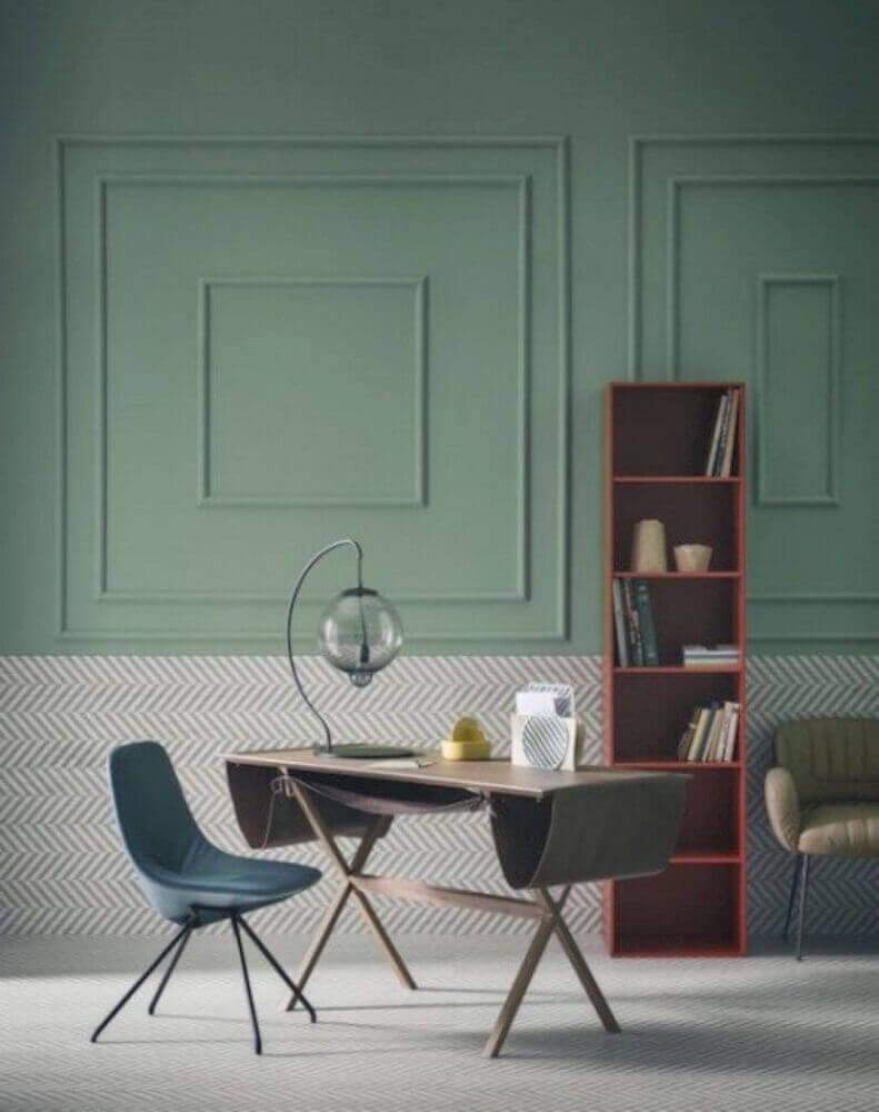 ambiente com decoração moderna com boiserie pintado de verde Foto Futurist Architecture