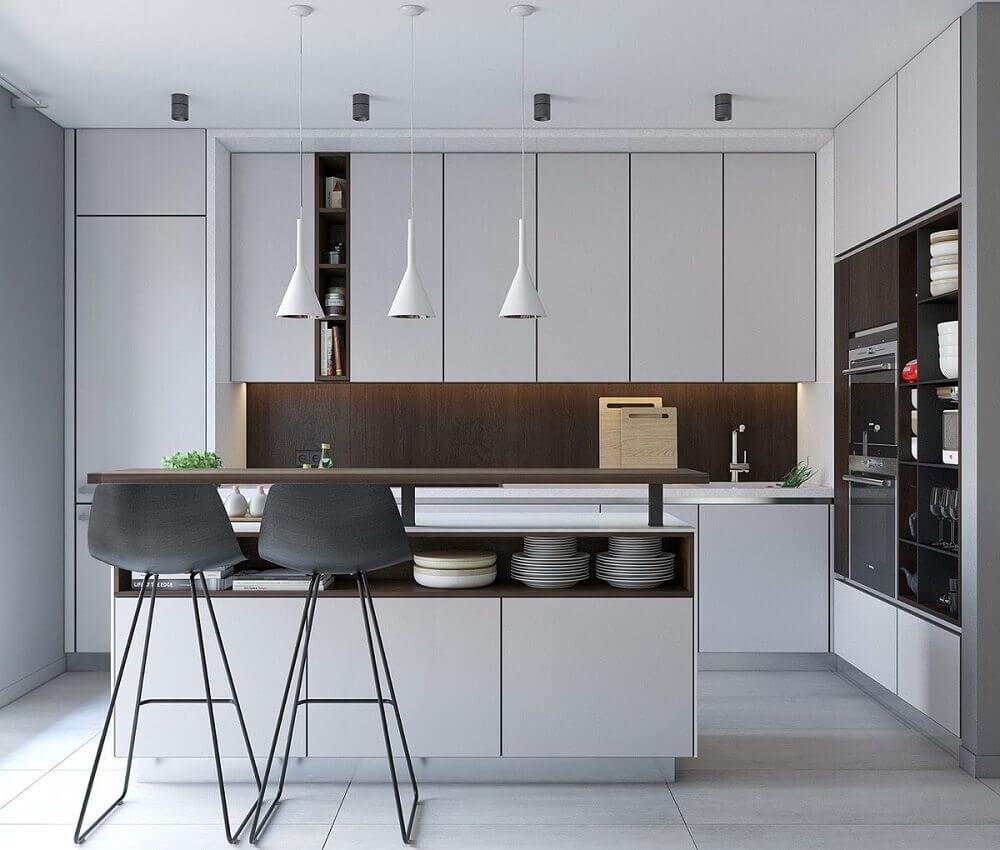 armário de cozinha planejado branco com decoração moderna Foto Pinterest