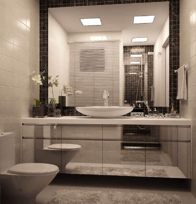 armário planejado espelhado para decoração de banheiro Foto Pinterest