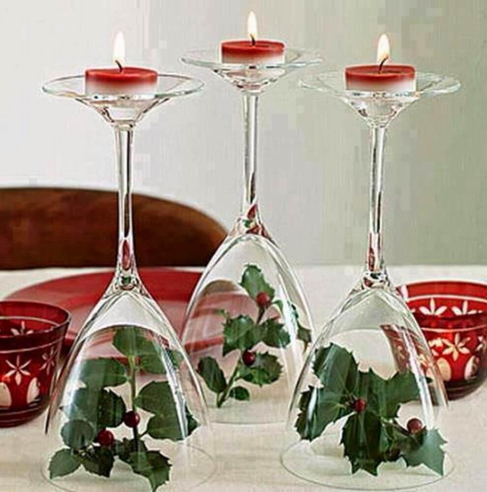 arranjos de natal feitos com taças e velas Foto Round Decor