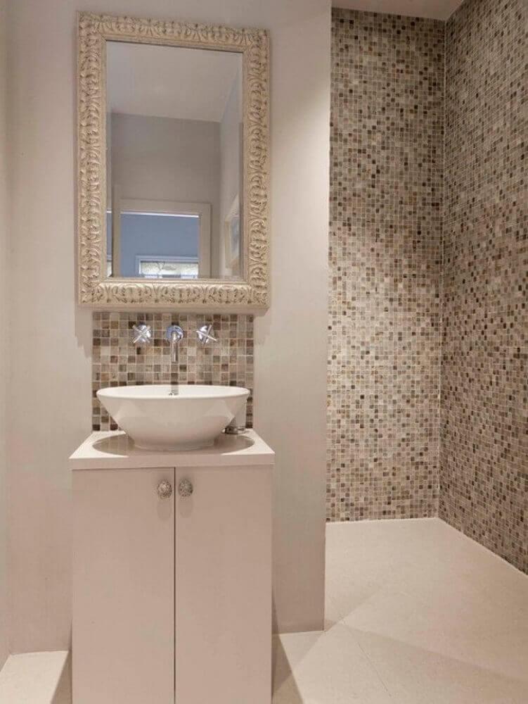 banheiro com pastilha decorado em tons neutros Foto Home Design Interior