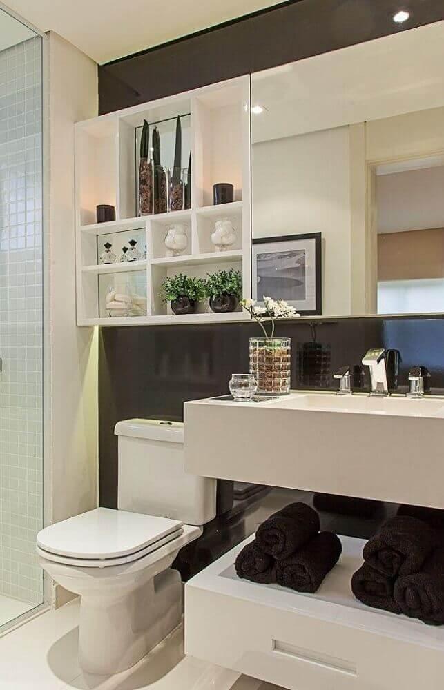 banheiro planejado preto e branco Foto Sandra Fernandes