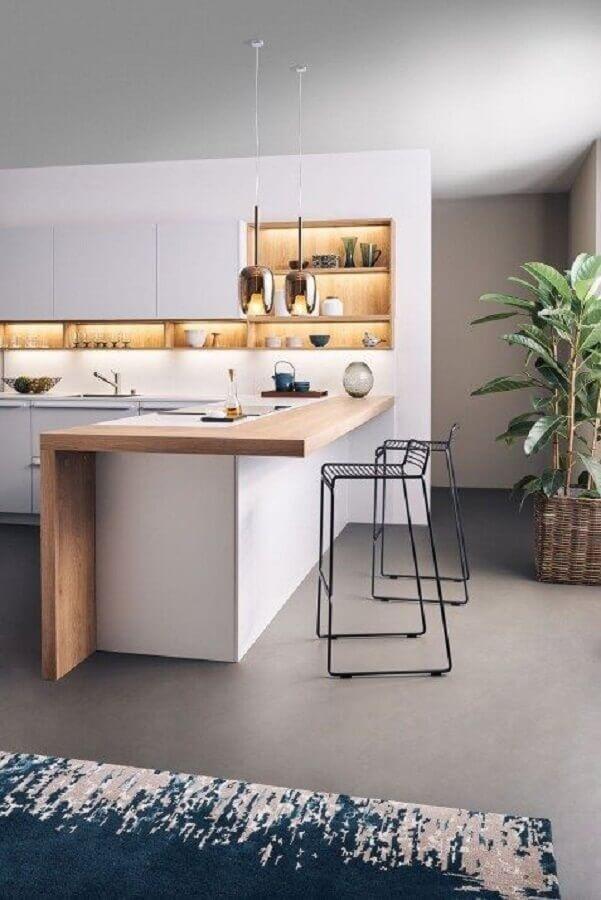 banquetas para cozinha com decoração minimalista Foto Leicht Westchester