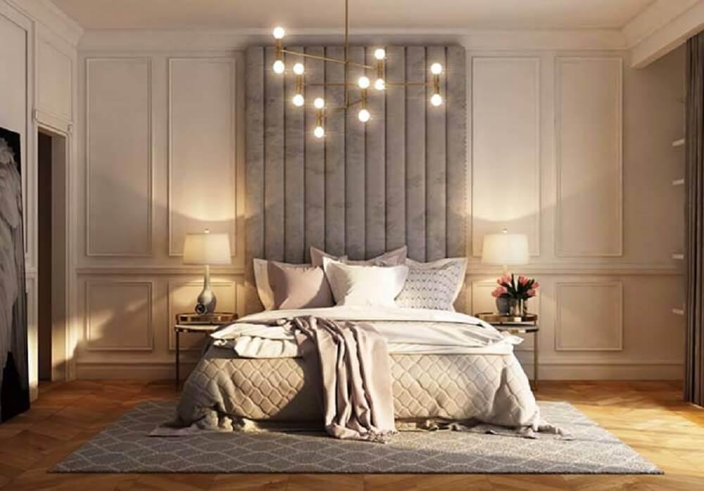 boiserie com cabeceira cinza para quarto de casal decorado Foto Pinterest