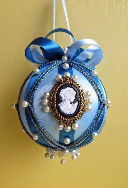 bolas de natal - bola de natal azul com pingente