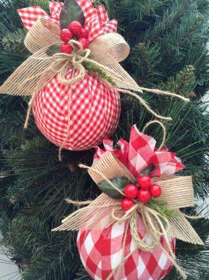 bolas de natal - bolas de natal com tecido qudriculado