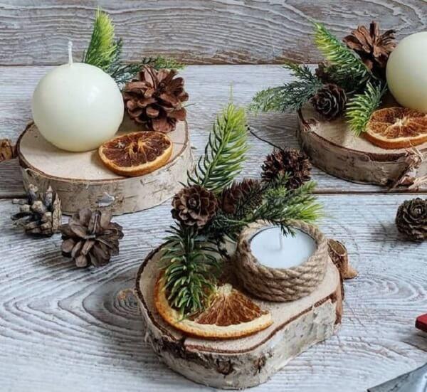 Reaproveite materiais naturais como a madeira para compor arranjos de Natal