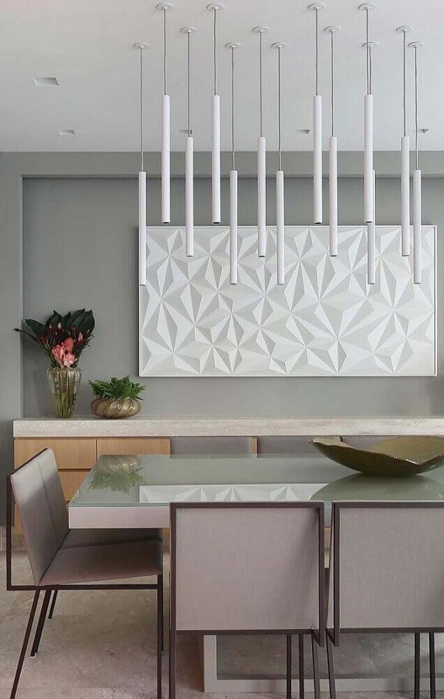 cadeiras para sala de jantar modernas com pendentes minimalistas sobre a mesa Foto Pinterest