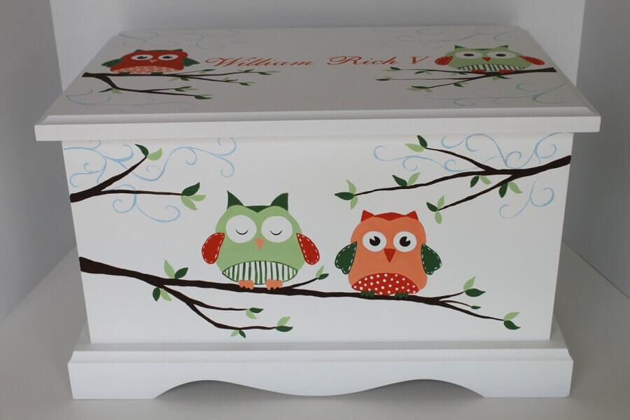 caixa de madeira decorada com estampa de corujinha Foto Etsy