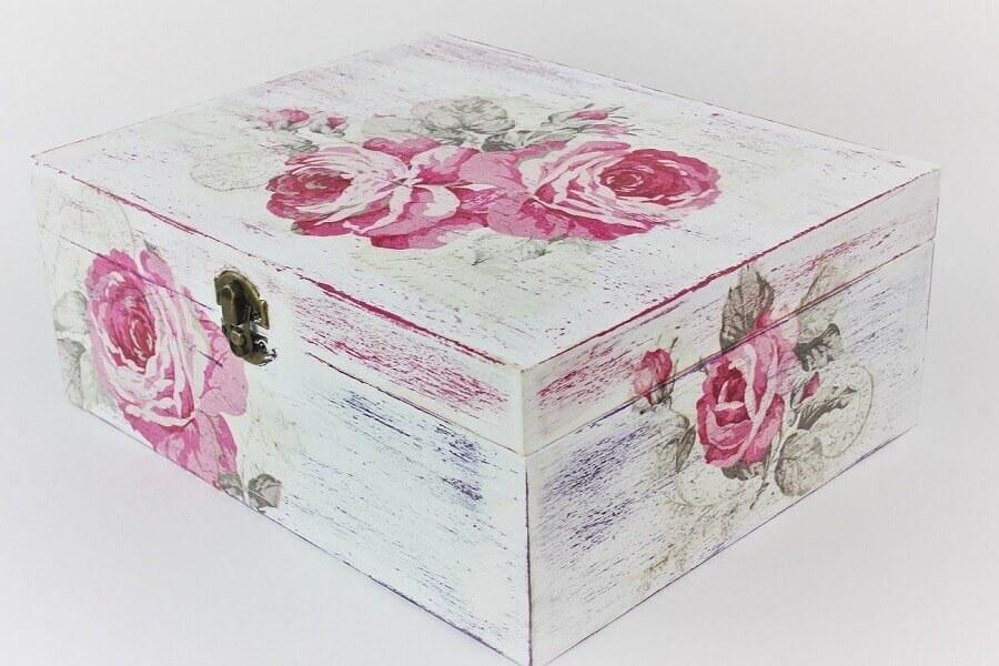 caixa de madeira decorada rústica Foto Pinterest