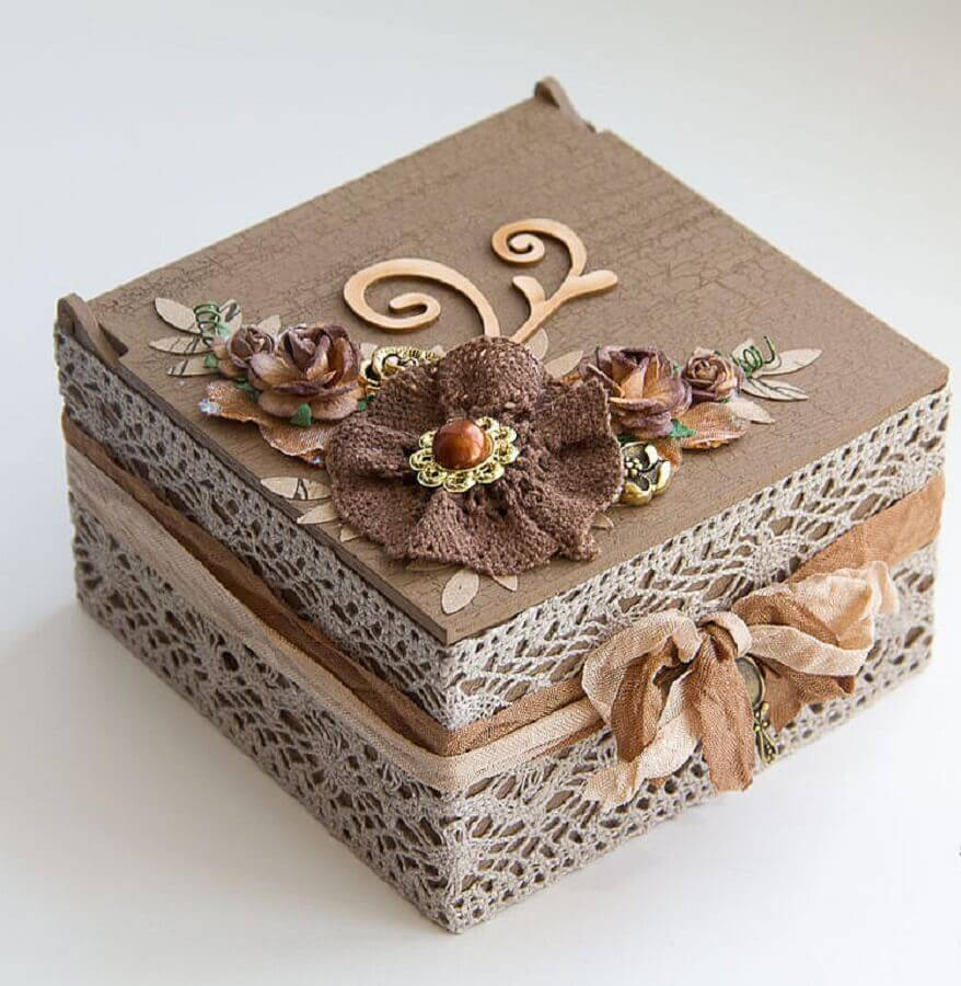 caixinha de mdf decorada com estilo rústico Foto Yandex