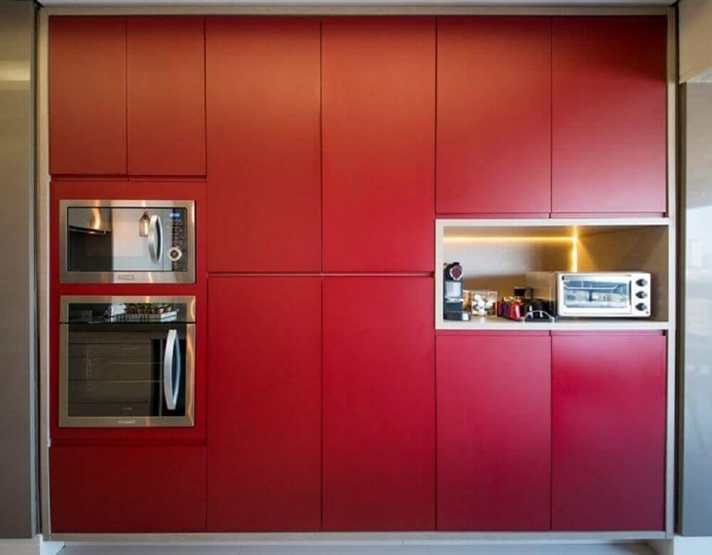 cores de armário de cozinha planejado em vermelho Foto Mis Arquitetura e Interiores