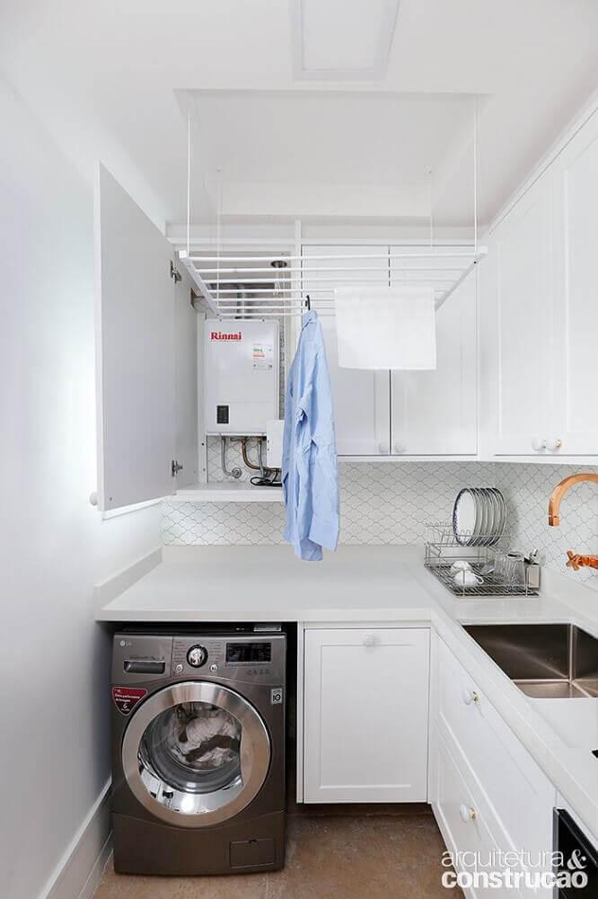 cozinha com área de serviço toda branca Foto Arquitetura & Construção