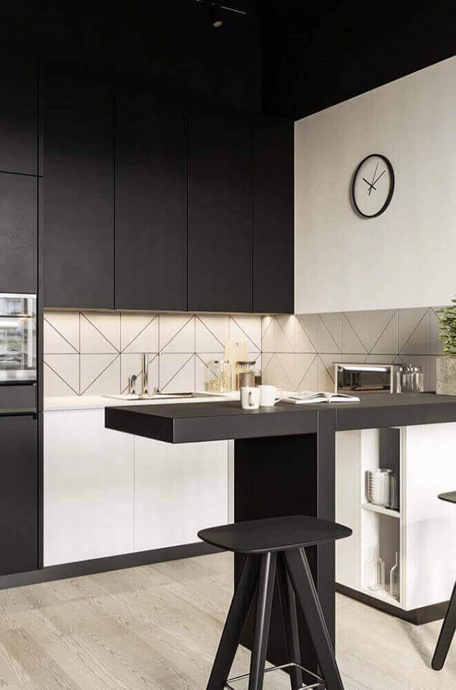 cozinha moderna decorada com armário de cozinha planejado preto Foto Absolute Hotties