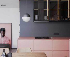 cozinha moderna decorada nas cores cinza e rosa IdeiasDecor