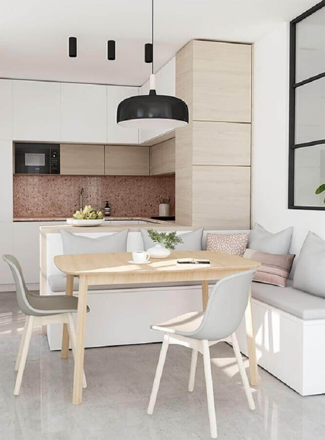 cozinha planejada pequena com balcão e canto alemão Foto Behance