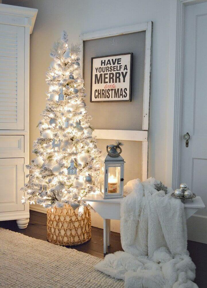 clean decoration with white Christmas tree and silver Photo Homy99