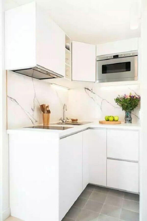 decoração clean com cozinha planejada pequena Foto Cuisine Jardin