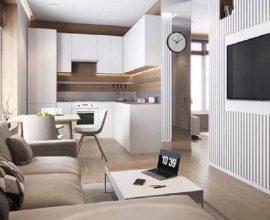 decoração clean e moderna para cozinha integrada com sala de jantar e estar  Foto Pinterest