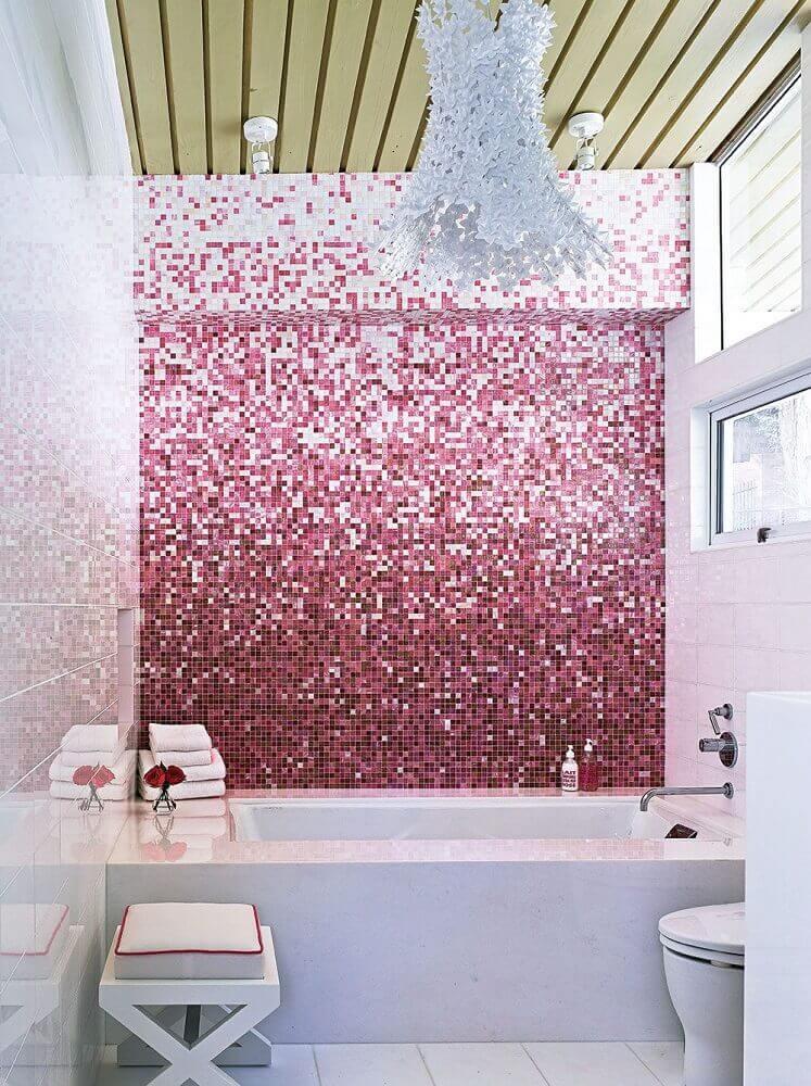 decoração clean para banheiro com pastilha em tons de rosa Foto Yandex