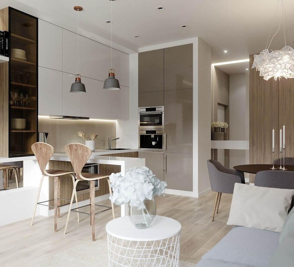 decoração com armários planejados para cozinha integrada com sala de jantar e estar Foto Wohnzimmer Ideen