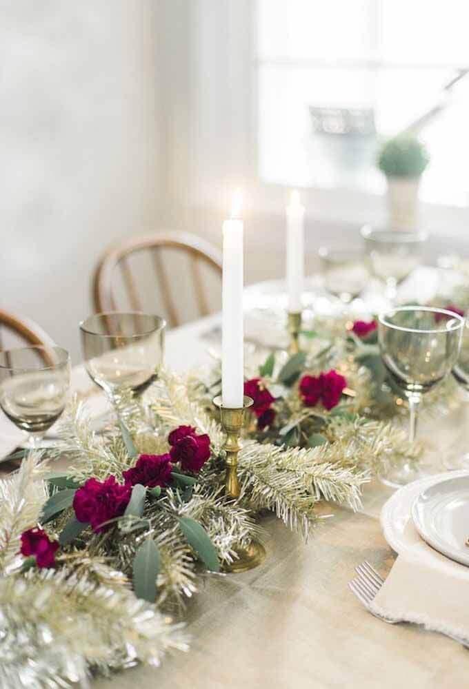decoração com arranjos para mesa de natal Foto Home Security