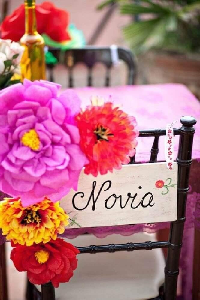 decoração com flores e plaquinhas para casamento Foto Federica Bruno