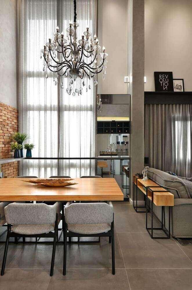 decoração com lustre candelabro para sala de jantar moderna e sofisticada Foto Evolukit