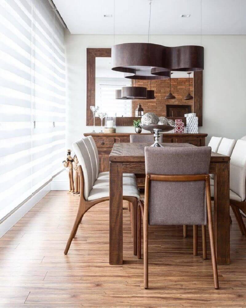 decoração com móveis de madeira para sala de jantar moderna Foto Braccini + Lima Arquitetura